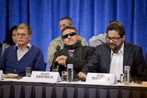 De FARC-delegatie afgelopen oktober in Noorwegen waar werd besloten tot vredesonderhandelingen