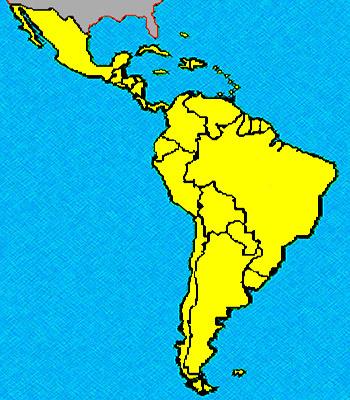 Kaart Latijns Amerika