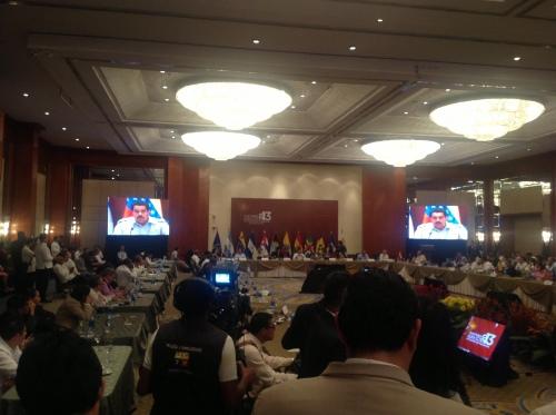 Morales aan het woord tijdens afsluitende persconferentie ALBA-top in Guayaquil