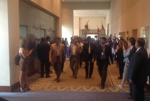 President Evo Morales van Bolivia met de Ecuadoraanse minister Patiño van Buitenlandse Zaken