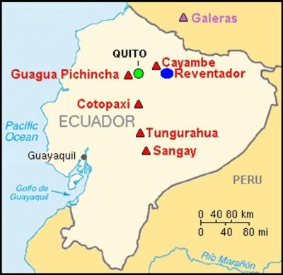 De Tungurahua maakt onderdeel uit van een hele zone van vulkanen