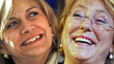 Links Evelyn Matthei en rechts Michele Bachelet