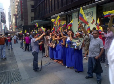 Tijdens een groot energie-congres in New York onlangs protesteerde ook al een groep Ecuadoranen tegen Chevron