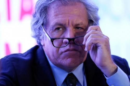 Organization of American States (OAS) Secretary-General Luis Almagro holds his glasses during the Democratic Solidarity in Latin America meeting organised by Forum 2000 Foundation in Mexico City